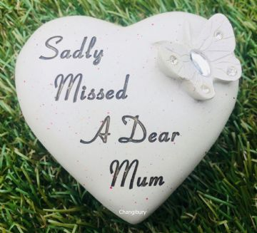 8cm Sadly Missed a Dear MUM HEART with Butterfly Grave Stone DF17745E
